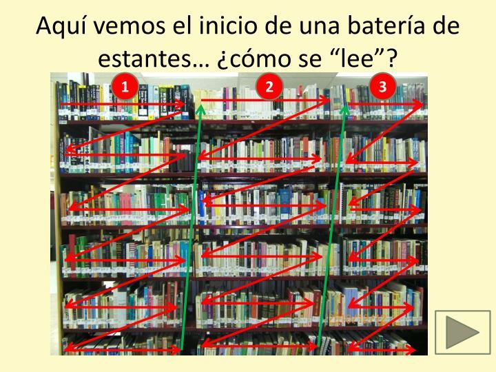 """Aquí vemos el inicio de una batería de estantes… ¿cómo se """"lee""""?"""