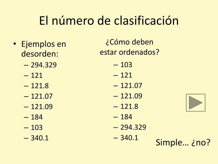 El número de clasificación