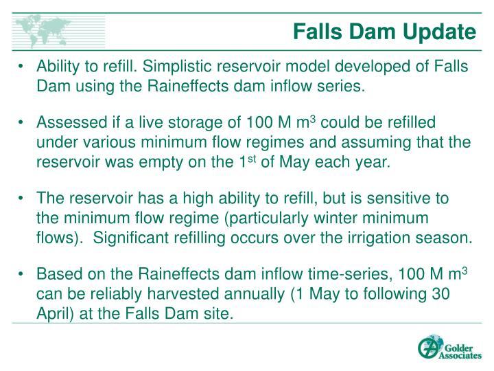 Falls Dam Update