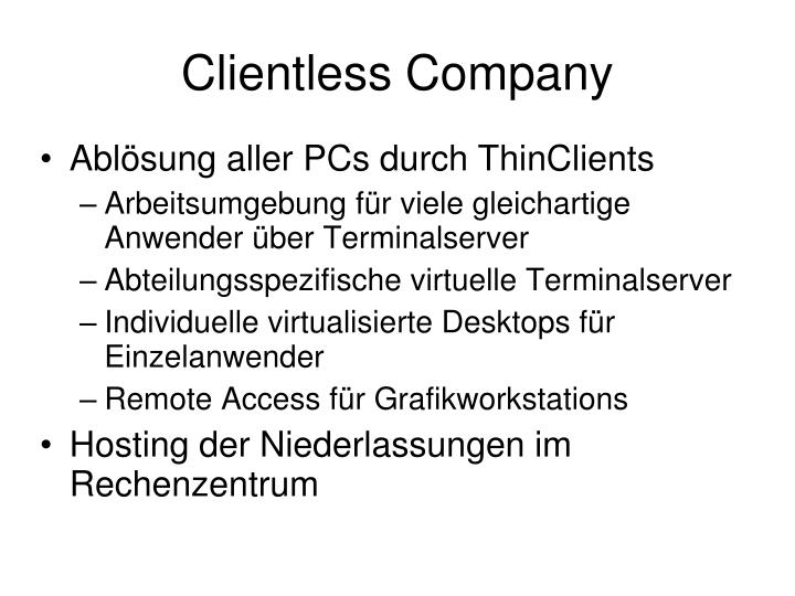 Clientless Company