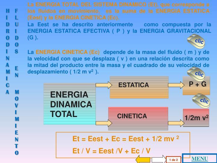 La ENERGIA TOTAL DEL SISTEMA DINAMICO (Et), que corresponde a los fluidos en movimiento,  es la suma de la ENERGIA ESTATICA (Eest) y la ENERGIA CINETICA (Ec).