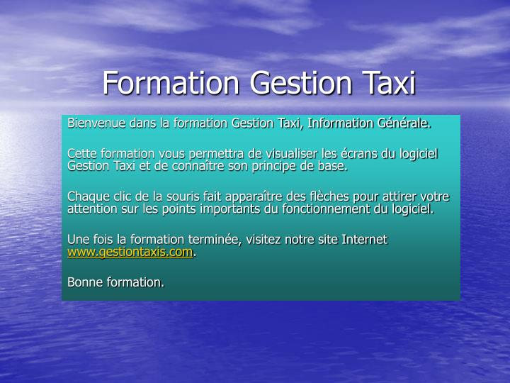 Formation Gestion Taxi
