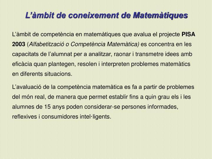 L'àmbit de coneixement de Matemàtiques