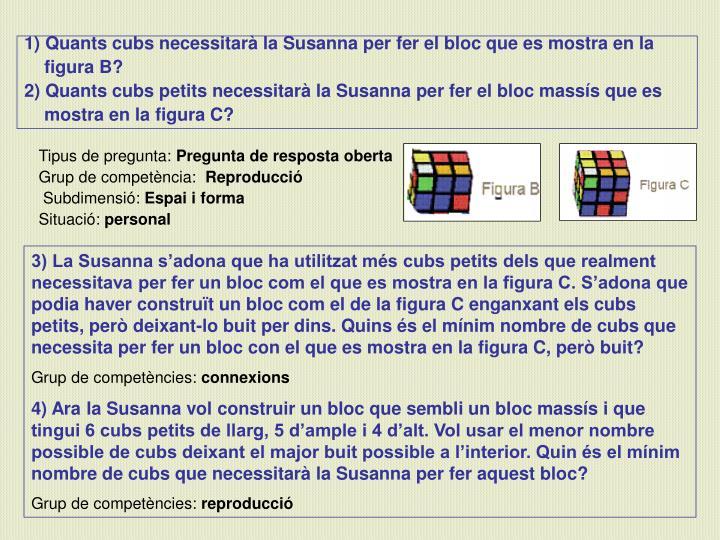 Quants cubs necessitarà la Susanna per fer el bloc que es mostra en la