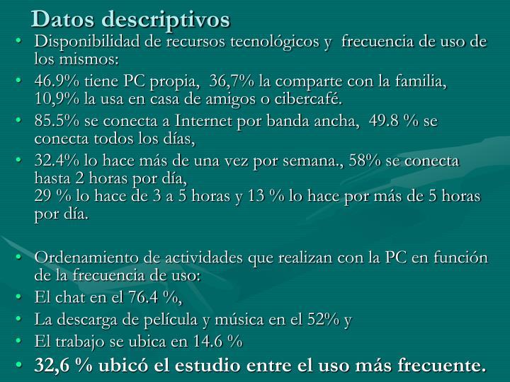 Datos descriptivos