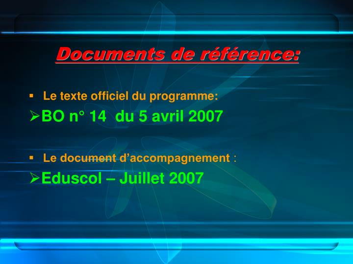 Documents de référence: