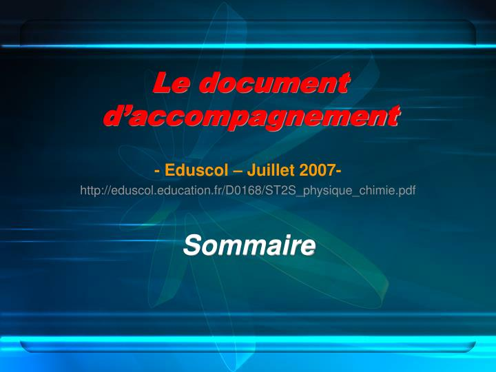 Le document d'accompagnement