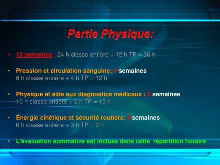 Partie Physique: