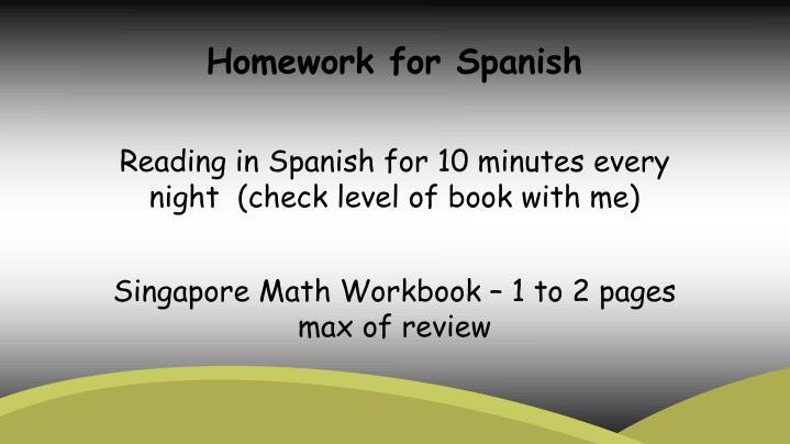 Homework for Spanish