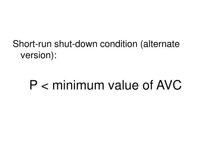 Short-run shut-down condition (alternate version):