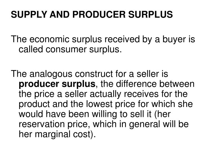 SUPPLY AND PRODUCER SURPLUS