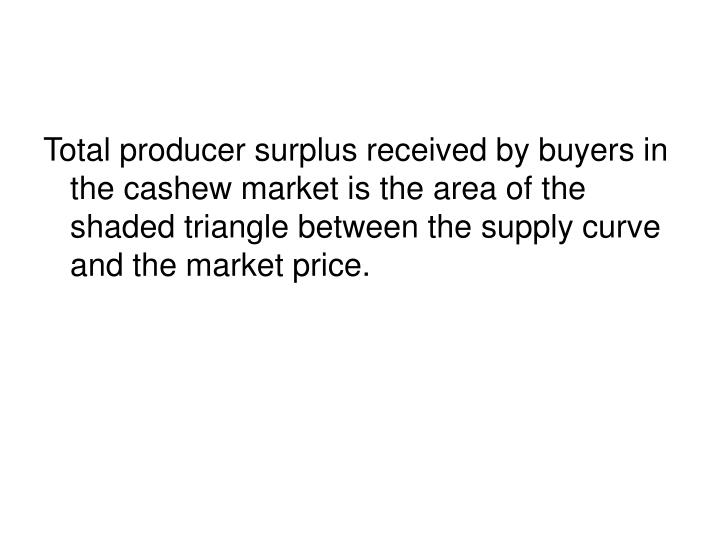 Total producer surplus received by buyers in the cashew market is the area of the shaded triangle between the supply curve and the market price.