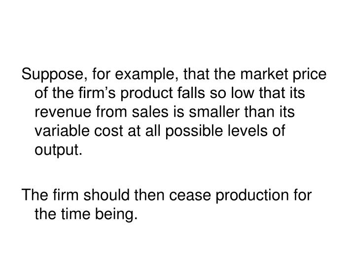 Suppose, for example, that the market price of the firm's product falls so low that its revenue from sales is smaller than its variable cost at all possible levels of output.