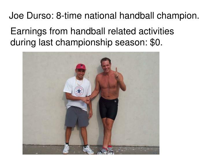 Earnings from handball related activities during last championship season: $0.
