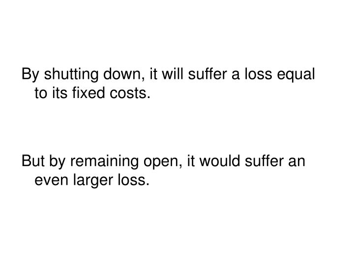 By shutting down, it will suffer a loss equal to its fixed costs.