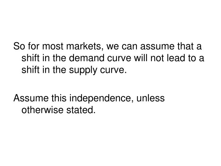 So for most markets, we can assume that a shift in the demand curve will not lead to a shift in the supply curve.