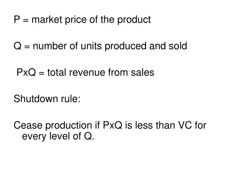 P = market price of the product