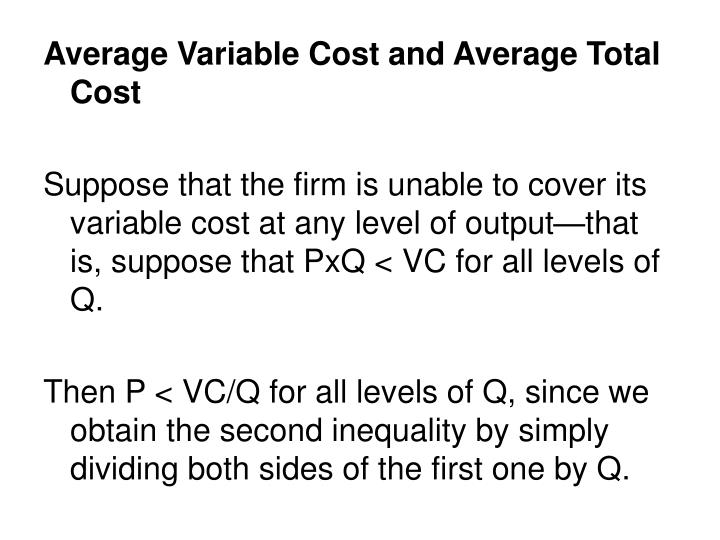 Average Variable Cost and Average Total Cost