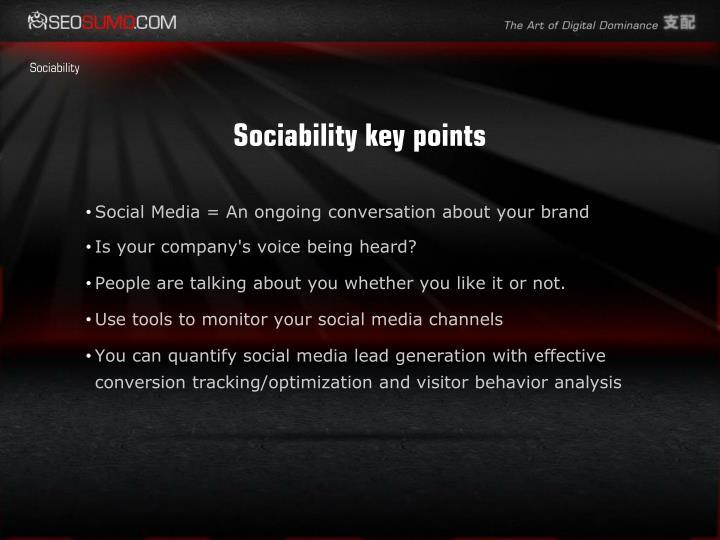 Sociability key points