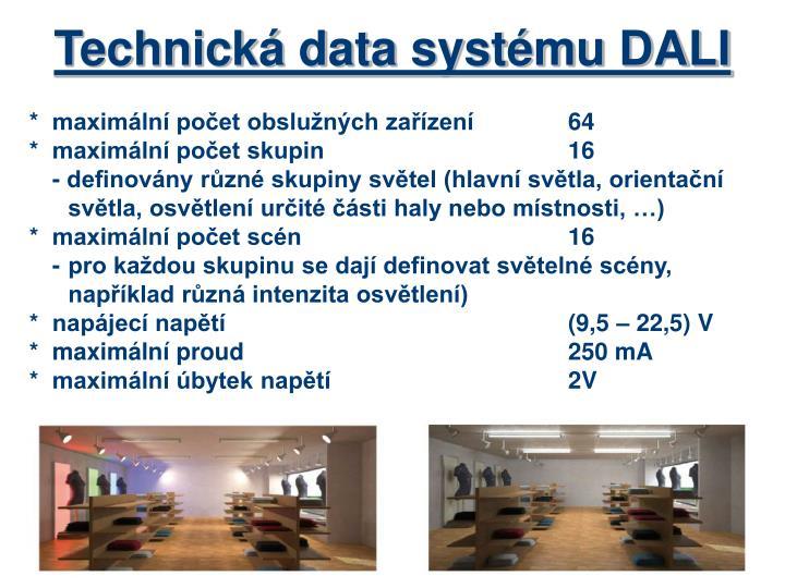 Technická data systému DALI