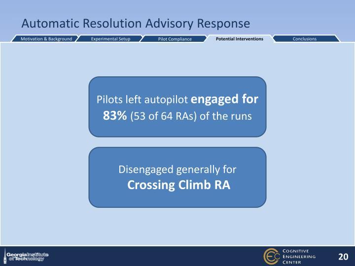 Automatic Resolution Advisory Response