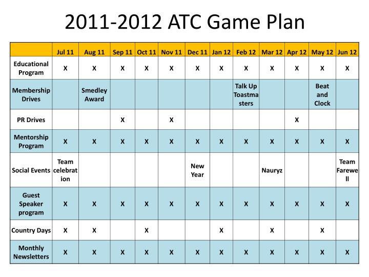2011-2012 ATC Game Plan