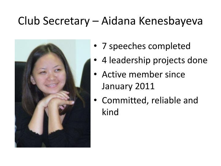 Club Secretary –