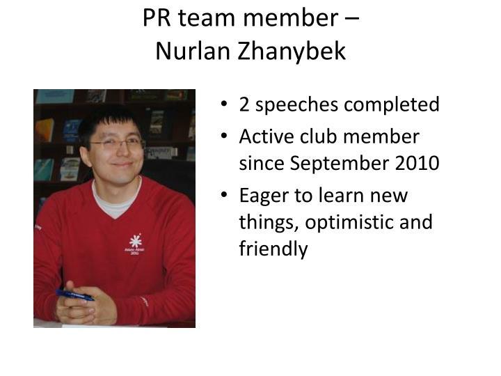 PR team member –