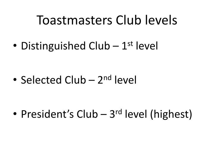 Toastmasters Club levels