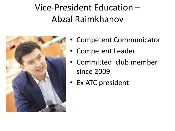 Vice-President Education –