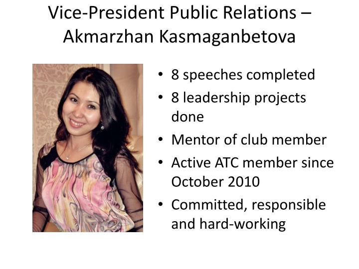 Vice-President Public Relations –