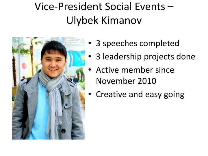 Vice-President Social Events –