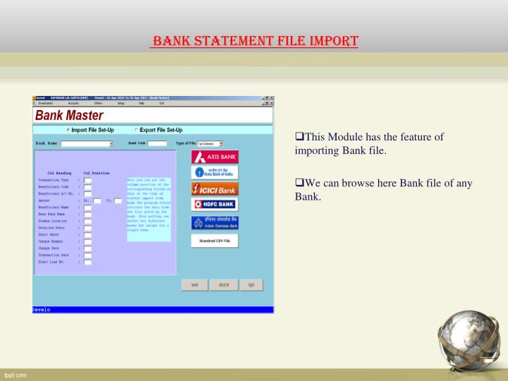 BANK STATEMENT FILE IMPORT