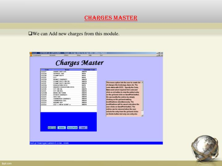 CHARGES MASTER