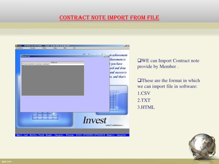 CONTRACT NOTE IMPORT FROM FILE