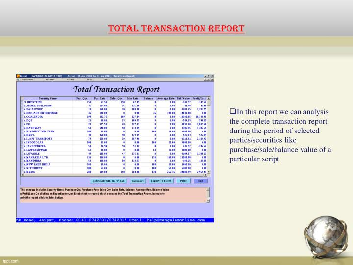 TOTAL TRANSACTION REPORT