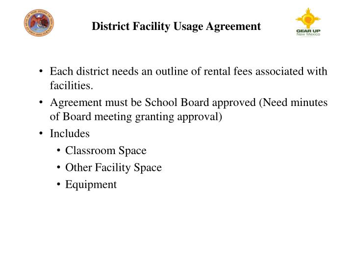 District Facility Usage Agreement