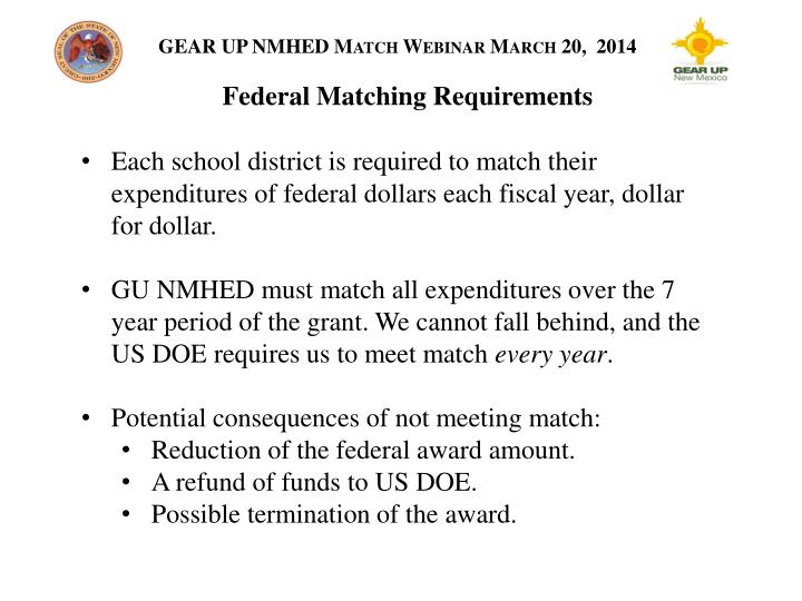 Federal Matching Requirements