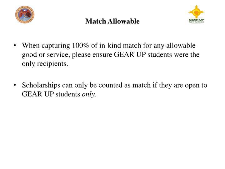 Match Allowable