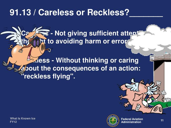 91.13 / Careless or Reckless?_______