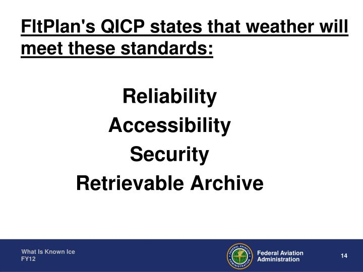 FltPlan's QICP states that weather will meet these standards: