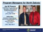 program managers for north dakota
