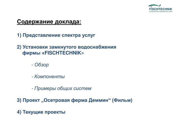 Содержание доклада: