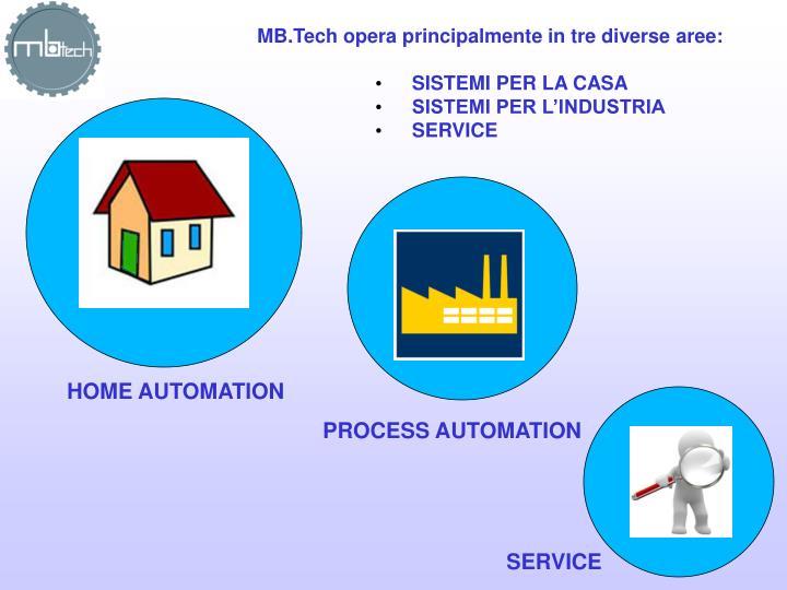 MB.Tech opera principalmente in tre diverse aree: