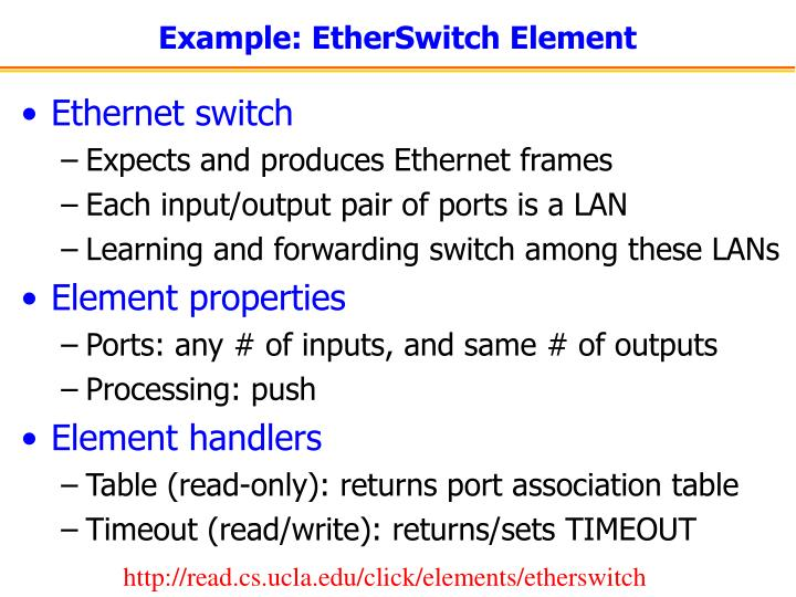 Example: EtherSwitch Element
