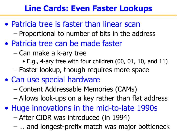 Line Cards: Even Faster Lookups