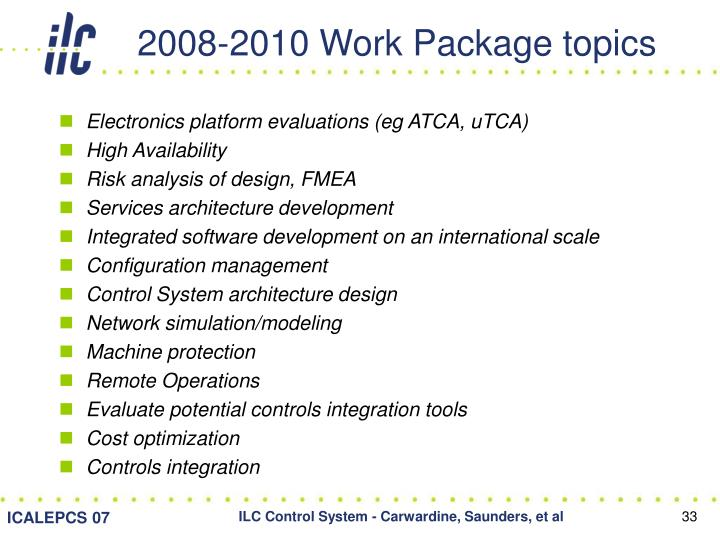 2008-2010 Work Package topics
