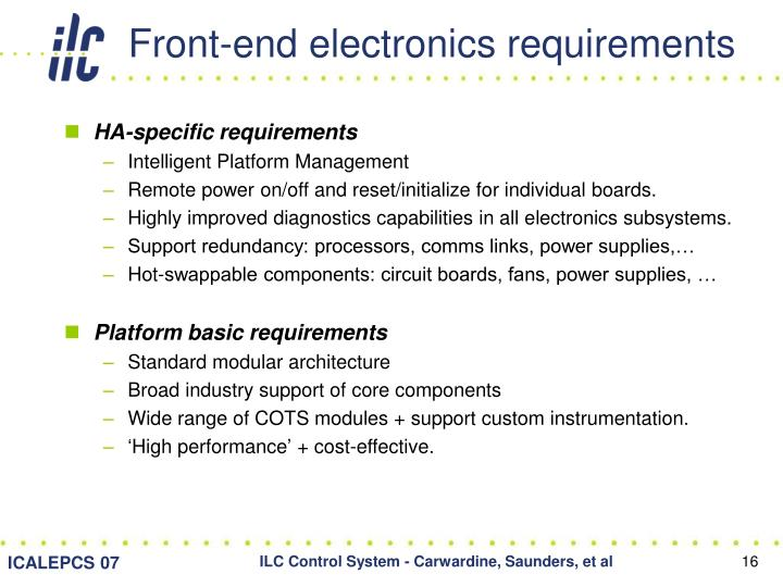 Front-end electronics requirements