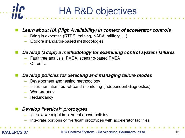 HA R&D objectives