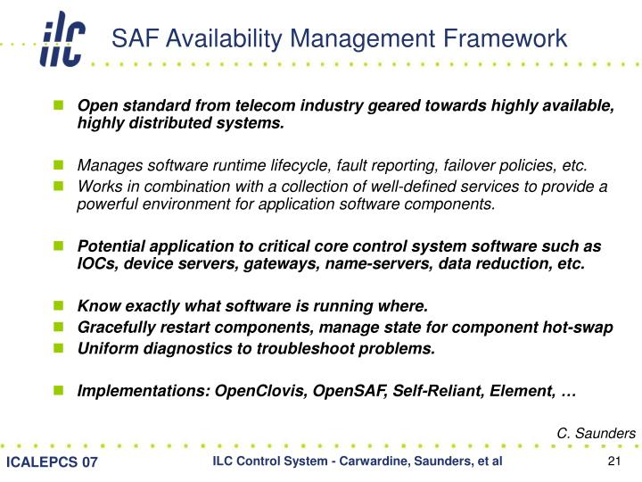 SAF Availability Management Framework